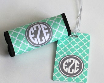 Monogrammed Luggage Handle Wrap and coordinating Luggage Tag SET - Personalized Luggage Tag - Shower Gift  - Graduation Gift