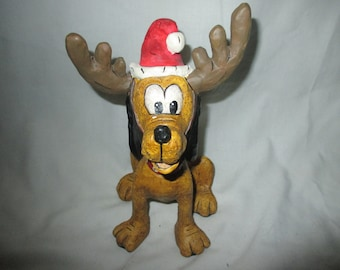 RARE Christmas DISNEY PLUTO with Antlers and Santa Hat Wood Sculpture Mint and Adorable!
