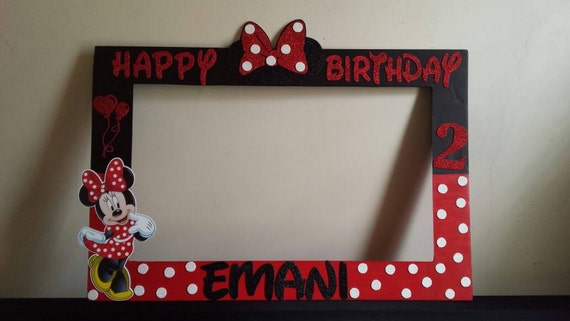 Minnie Mouse Photo Booth Frame Red/ Black or Red/White