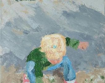 Original fine art painting of my grand-kid(acrylic on canvas)