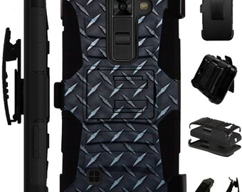 For LG K10 K8 K7 K6 K4 K3 Stylo 2 Plus G4 G5 V10 V20 Phoenix Volt Hybrid Armor Cover Rugged KickStand Holster Case BLACK CROSSHATCH LuxGuard