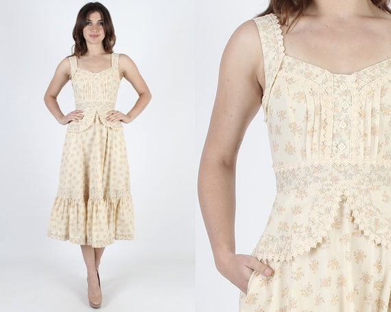 Gunne Sax Dress Prairie Dress Calico Print Bohemian Dress Boho Dress Crochet Dress Vintage 70s Ivory Floral Bouquet Hippie Midi Maxi Dress S by Etsy
