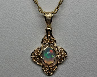 Celtic Knot-Work Ethiopian Opal Drop Pendant In 14K