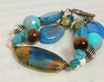 Blue Agate Two Strand Bracelet