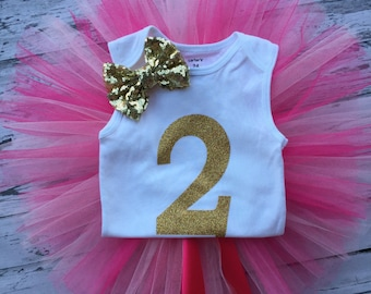 2nd Birthday Pink and Gold Tutu Set, 2nd Birthday Outfit, Gold Two Bodysuit, Hot pink Light Pink Tutu,2nd Birthday Tutu Outfit,Pink Birthday