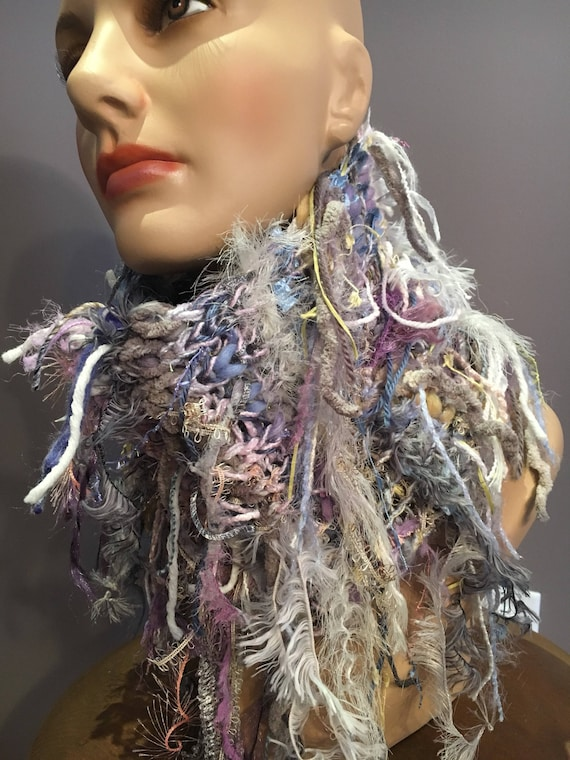 Knit fringed cowl, pastel and white Shag Cowl, Bohemian Fringed Knit neck scarf, choker, scarves, cowl with fringe, artwear, knitwear