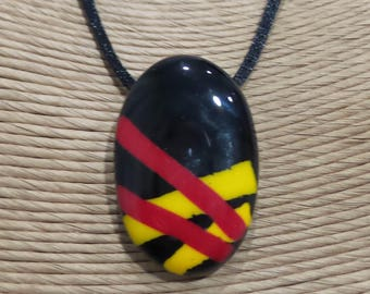 Oval Fused Glass Pendant, Red Yellow and Black Pendant, One of a Kind Fused Glass Jewelry, Ready to Ship - Pricilla -7