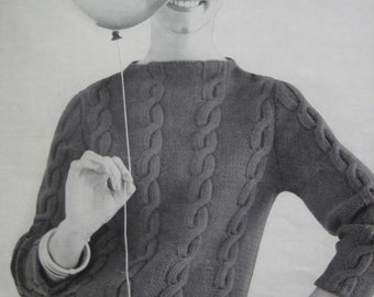 1960's Vintage Knitting Pattern PDF Women's Cable Sweater 736-8