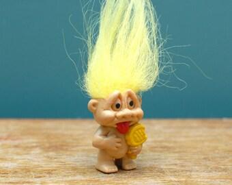 Troll Doll Pencil Topper, yellow hair troll , vintage troll , mini troll