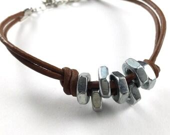 Leather Bracelet Cuff Unisex Bracelet Hardware Jewelry Industrial and eco friendly