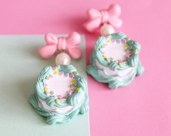 Mint Green Birthday Cake Earrings Cakes and Bows Earrings Pastel Kawaii Earrings Kawaii Jewelry Birthday Jewelry Goth Mermaid Accessories