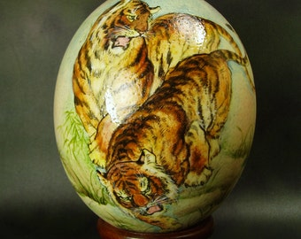 Bold and Powerful Tigers/ Hand Painted Ostrich Egg/ Ostrich Egg Art