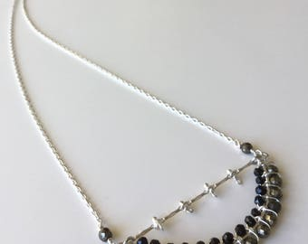 Pyrite n Black Spinel sterling necklace- Handmade, semiprecious,mother's day,holidays,