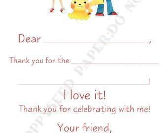 Pokemon Fill In Thank You Notes- Kids- Children- Stationery- Birthday Party