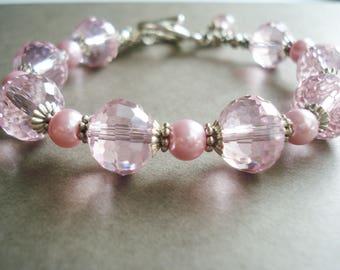 Pink Bracelet Crystal Jewelry Pearl Bracelet Wedding Jewelry Bridesmaid Gift Idea Bridal Jewelry Silver Bracelet Pink Jewelry Gift For Women