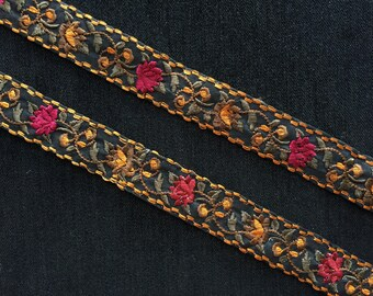 Black Red Floral Embroidery Trim,Indian Lace Red,Brown,Green Rose Flowers Parsi Lace Sari Border Spring Floral Persian Lace 3cm W,Price/mtr