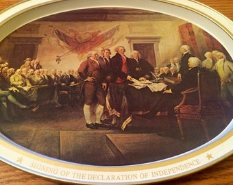 Vintage Patriotic Metal Tray, Signing of the Declaration of Independence