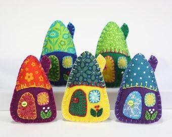 Felt Christmas ornaments, Handmade felt houses, Colourful patchwork houses, Felt house Christmas ornaments, Miniature houses, Felt cottages