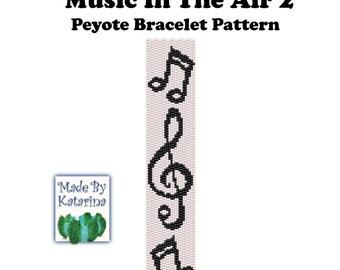 Peyote Pattern - Music in the Air 2 - INSTANT DOWNLOAD PDF - Peyote Stitch Bracelet Pattern / Music Note Pattern / Treble Clef Pattern