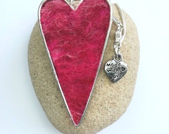 Handmade Heart Felt Pendant Necklace