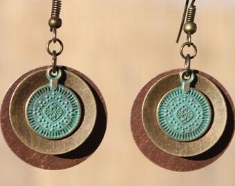 Mixed Metal Earrings Turquoise Earrings Dangle Drop Boho Earrings Bohemian Earrings Copper Earrings Brass Earrings Gift for women Gift