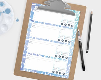 Printable blog post planner - Blue watercolour patterned. Plan 4 posts per sheet. Blog and business resource