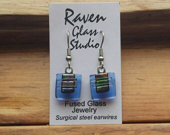 Blue dichroic glass earrings,  Fused glass jewelry, Art glass earrings, Dangle earrings, Kiln fired glass earrings, Fused glass, EA151A