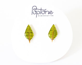 Abstract Leaf Earrings, Geometric Leaf Earrings, Lime Green Stud Earrings, Geometric Arrow Earrings