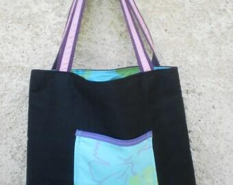 Black canvas shoulder bag pouch floral