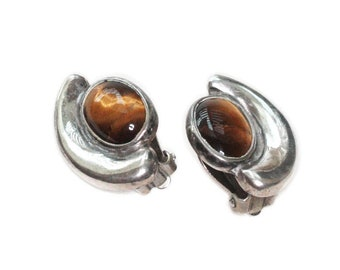 Sterling Silver and Tigers Eye Earrings Taxco Mexico Clip On Vintage Earrings