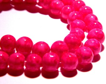 "20 glass beads ""reality"" - 8 mm - bright fuchsia - PG103 way"