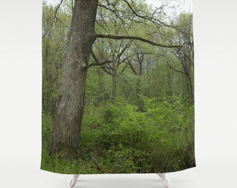 Forest Shower Curtain, Woodland Decor, Rustic Shower Curtain, Tree Decor, Cabin, Lake House, Mens Gift, Housewarming Gifts, Green, Tree
