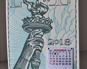 Liberty Handmade Letterpress Wall Calendar for 2018. Sweet Statue of Liberty!