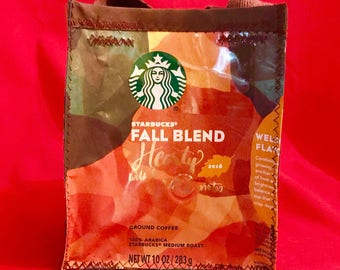 Fun Eco Friendly Purse made with Recycled Fall Blend Starbucks Coffee bags upcycled repurposed.