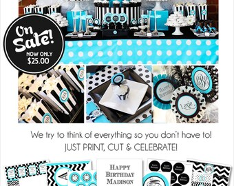 Monogram Birthday Party | Monogram Teen Birthday Decorations | Sweet Sixteen Birthday | Sweet 16 Party | Adult Birthday | Amanda's Parties