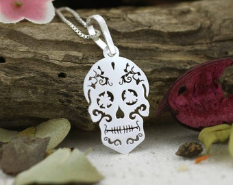 Sterling Silver Sugar Skull Necklace, Sterling Silver Skull Necklace, Skull Necklace, Sugar Skull Jewelry, Day of the Dead, Halloween