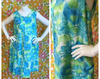 SALE! 60s 70s Vintage Blue Floral Tent Dress Large XL