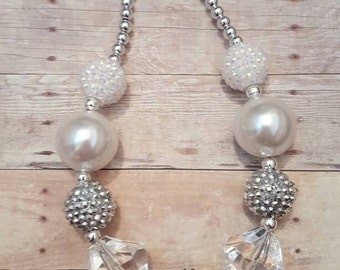 Holiday special occassion chunky bubblegum bubble gum bead Necklace little girl kid jewelry white silver 1st communion flower girl