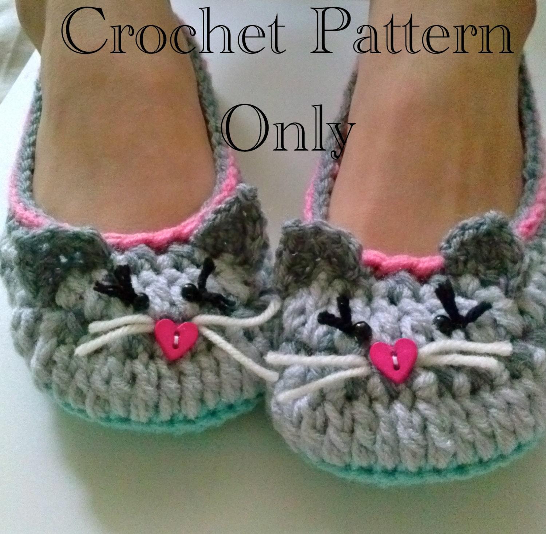 Women\'s Kitty Cat Slippers Crochet Pattern 201 PDF