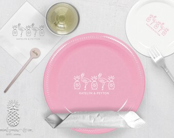 Pineapple Flamingo Party Plates, Napkins or Cups | Plastic Cups | Personalized Plastic Plates | Monogram Napkins | Personalized Stir Sticks
