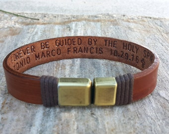 Custom Graduation Gift, Class of 2018, Personalized Leather Bracelet, Hidden Message, Custom Quote Jewelry, Hand Stamped Gift, Memorial Gift