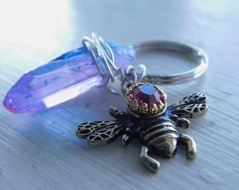 Angel Aura Quartz Bee Keychain