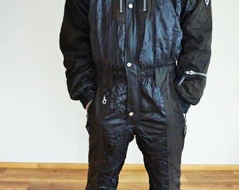 Vintage One Piece Skiing Suit / Ski / Black / Jacket / Small / S / Medium / M / Onepiece / Overall / Costume / Jumpsuit / Skisuit