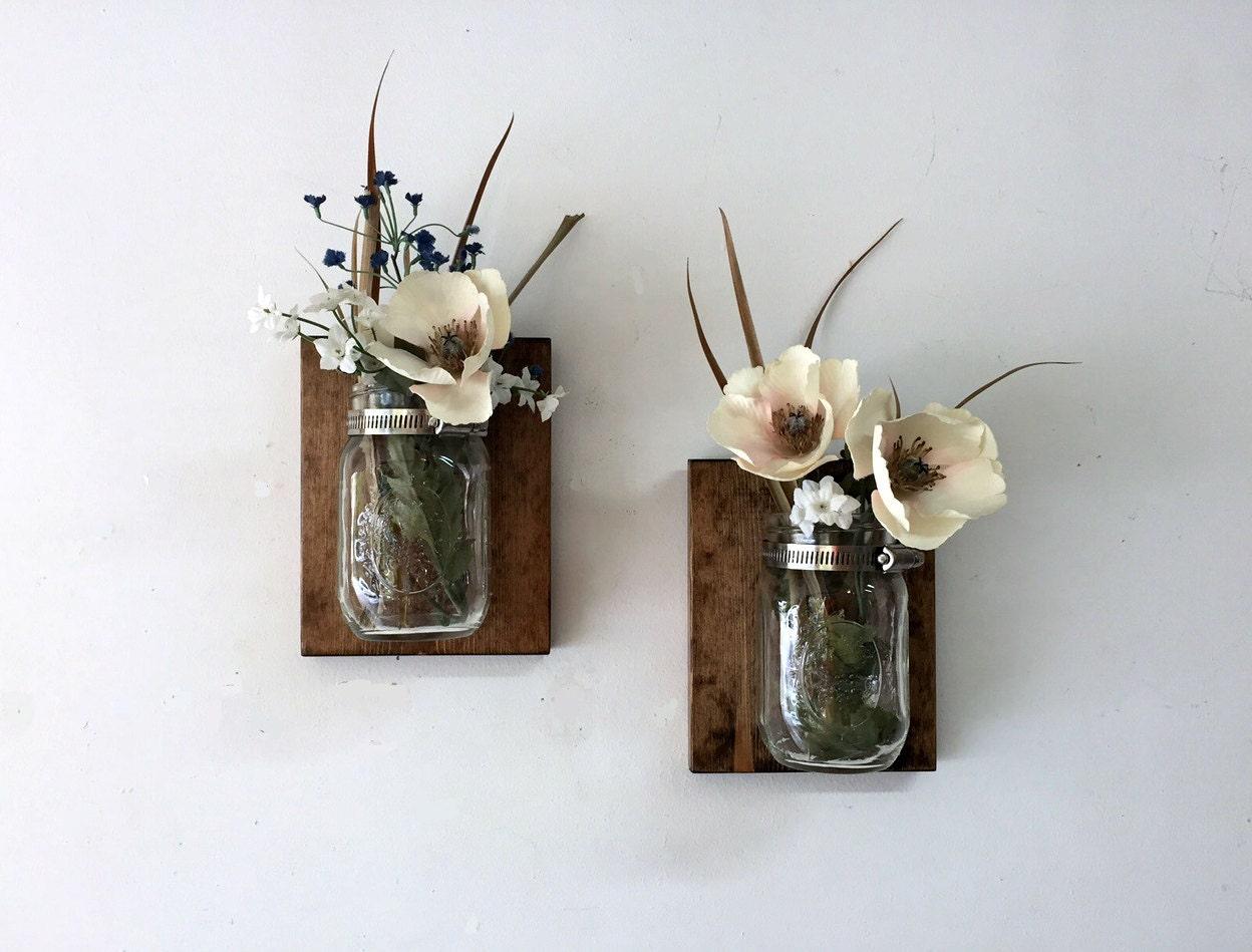 Mason jar vase set of 2 mason jar sconce wall mason jar zoom reviewsmspy