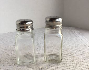 Vintage Glass Salt and Pepper Shakers / Glass Shakers with Stainless Steel Lids / Made in China
