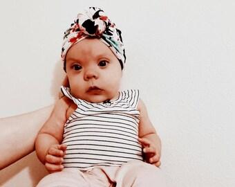 Newborn Turban - Mint and Pink Floral on Black Headwrap - Baby Turban Headband - Newborn Headwrap - Top Knot Turban - Baby Turban - Headband