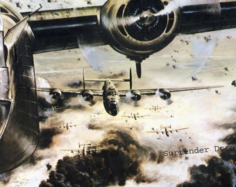 WWII B24 Bombers Over Romania USAF Vintage Military Color Lithograph Poster Print