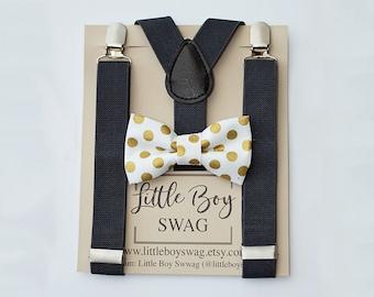 Boys Bow tie Suspenders, Boys Wedding Bow Tie, Baby Boy Bow Tie, Wedding Bow Tie, Ring Bearer Outfit, Boys Clothes, Boys First Birthday