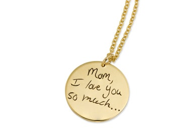 Gold Custom Handwriting Necklace - Gold Filled Signature Pendant - Personalized Memorial Necklace - Gold Personalized Pendant