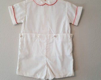 Vintage Boys 2 Piece Shorts Outfit in White with Red Piping on Collar and Cuffs- Size 3t- New, never worn